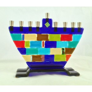 Jerusalem Cobblestone Glass Menorah