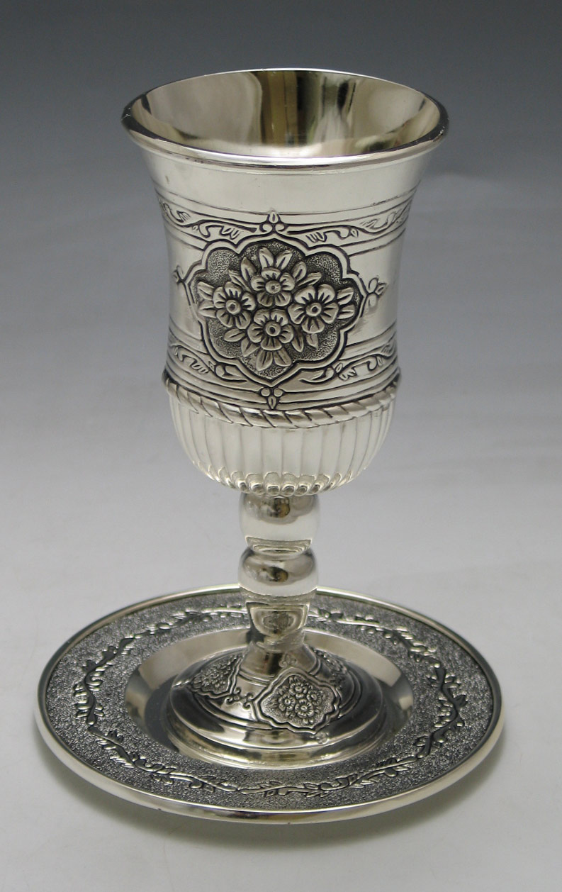 Kiddush Cup with Tray Flower Design