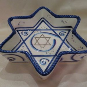 Ceramic Star of David Tidbit Tray