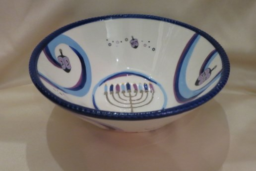 Chanukah Ribbons - Chanukah Serving Bowl