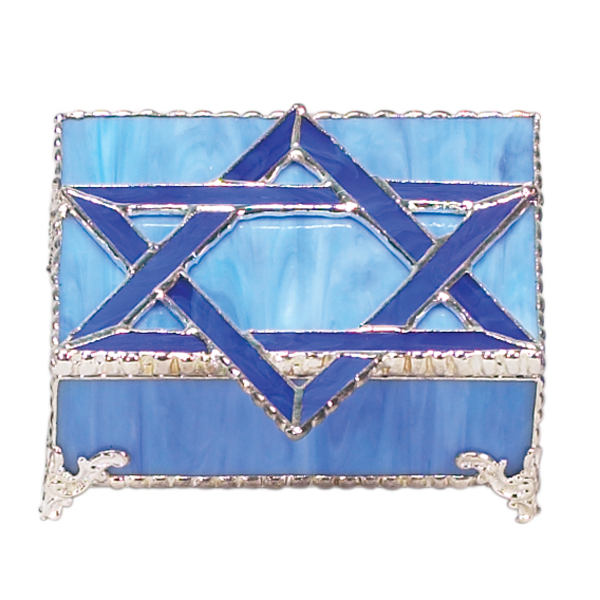 Blue Glass Star of David Jewelry Box