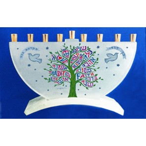 Tree of Life Glass Menorah
